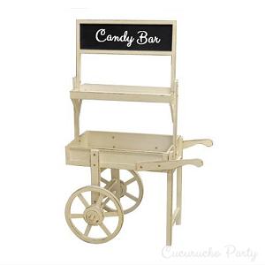 Carrito para chuches ideal para candy bar for Mesa carro bar madera