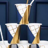 vaso azul dorado y blanco