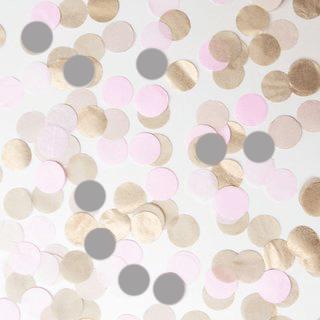 confeti en oro, gris y rosa