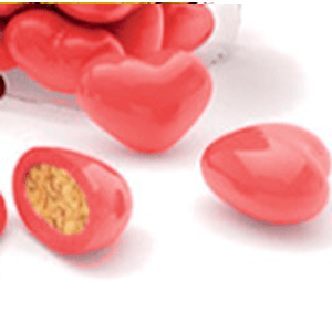 bombones de chocolate rojos en forma de corazón