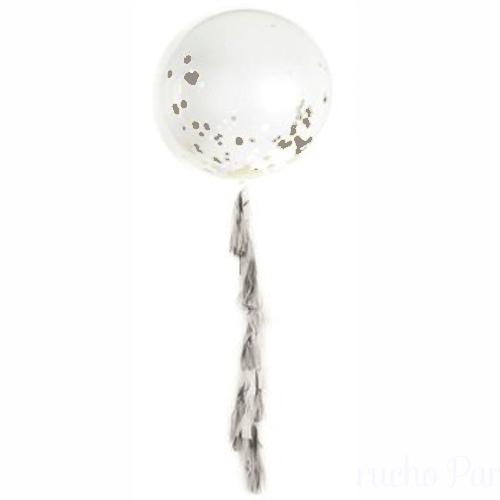 globo gigante plata con guirnalda tassel
