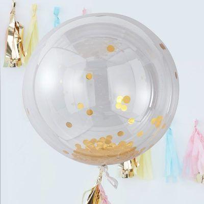 globo burbuja confeti estrellas doradas