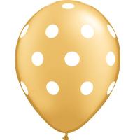 globos dorados lunares blancos