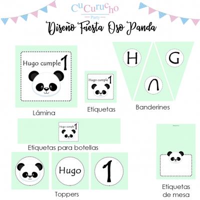 kit imprimible oso panda