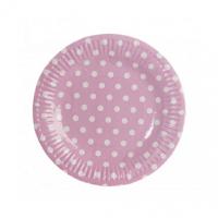 platos rosas con topos