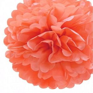 pompon de seda color coral