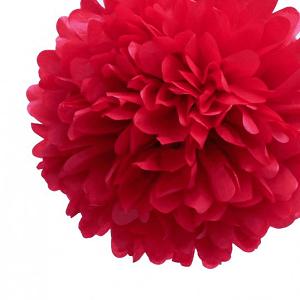 pompon de seda rojo