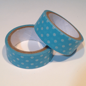 washi tape azul con topos