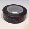 washi tape negro con frutos rojos