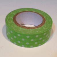 washi tape verde con lunares